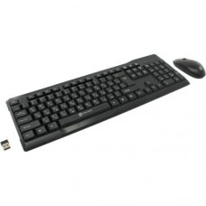 Комплект OKLICK Wireless Keyboard & Optical Mouse <230M> (Кл-ра Ergo, М/Мед, USB,FM+Мышь 3кн, Roll,